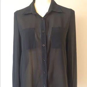 Tops - Black Chiffon Button Down Shirt
